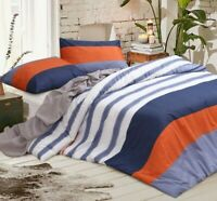 King size Quilt Doona Duvet Cover Set With Pillowcases White Blue Pure Cotton