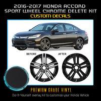 Fit 16-17 Honda Accord Sport Wheel Chrome Delete Blackout Kit - Matte Black