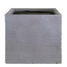 IDEALIST Planter with Drainage Hole Contemporary Light Concrete Ribbed Square