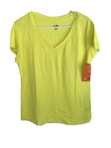 CHAMPION Ladies Dri Fit Short Sleeved Activewear Top Size:L Yellow