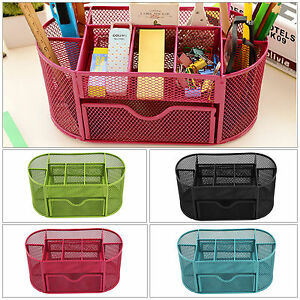 Pencil Tray Mesh Pen Holder Stationery Container Storage Desk Tidy Organiser