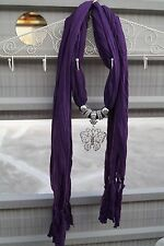 Purple Scarf with Silver Tone Butterfly Pendant