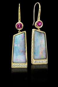 Fashion Women 18k Gold Filled White Fire Opal Stud Earrings Wedding Jewelry Gift