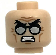 LEGO NEW MINIFIGURE HEAD SILVER GLASSES WINKLES ANGRY LOOK PATTERN FACE