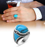 AAA QUALITY STERLING 925 SILVER LADIES JEWELRY CABOCHON TURQUOISE MEN'S RING