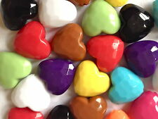 23 MIXED COLOUR PLASTIC HEART CHARMS JEWELLERY MAKING CRAFTS 25mm CHP0054