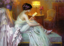 Art oil painting beautiful Young women Reading a love letter in Evening dress