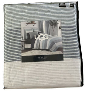 UGG Tideline Twin Size Quilt Succulent Cotton Sand Color 68x90 Bedding Blue Gray