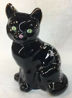 Fenton Art Glass Hand Painted Copper Rose On Black Cat