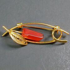Vintage Brooch Pin Natural Orange Polished Stone Ornate Leaf Gold Metal Japan