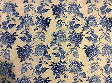 """Asian Ginger flower Porcelain blue flowers on white cotton fabric, 45""""w, BTY"""