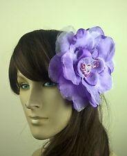purple satin flower fascinator millinery burlesque wedding hat bridal race