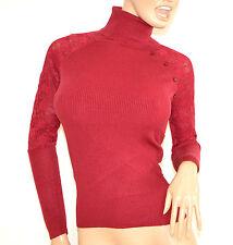 MAGLIETTA  donna ROSSA collo alto maglia manica lunga  sottogiacca ricamata F100