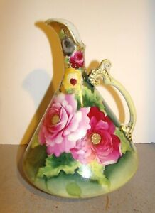 Nippon Ewer Pitcher w/ Hand Painted Roses