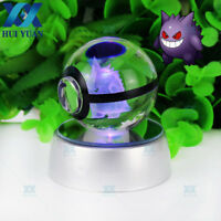50mm Gengar 3D Crystal Ball Pokemon Ball Night light Bedroom LED lamp Kid gifts