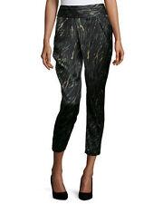 Haute Hippie Crossover Slim-Leg Cropped Pants, Emerald/Multi Size 4