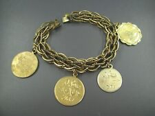 12K YELLOW Gold Filled GF CHARM BRACELET w/Disc Charms FAMILY HOLIDAYS Vintage