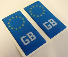 2x GB Great Britain Euro Gel 3D Number Plate Side Badge Badges for METAL PLATES
