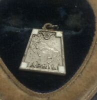 Vintage Sterling Silver Necklace 925 Pendant Charm April