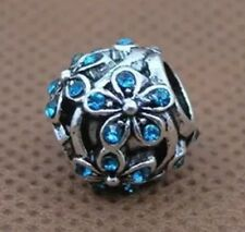 Azul Cristal de la CZ Daisy Flor encanto grano para Europeo pulseras de plata plateado