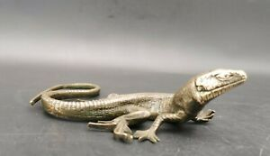 Ancien Lézard En Bronze Pressé Papiers 13,5cm