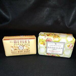 Lot of 2 Soaps Beekman Apricot & Honey Tea and Mrs Meyer's Oat Blossom. B4