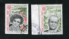 Série 2 timbres MONACO oblitérés YT n° 1224 + 1225 - Colette & Pagnol - 1980