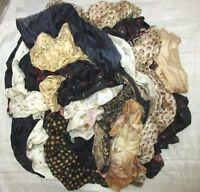 LOT PURE SILK Antique Vintage Sari REMNANT Fabrics 100 GRAMS 2 COLORS MIX CRAFT