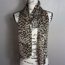 "Women's 100% Polyester Black & Brown Animal Print Scarf 72""X 18"""