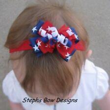 Red White Blue July Stars 4th Layered Korker Hair Bow Headband Preemie Toddler