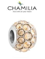 Genuine CHAMILIA 925 silver Swarovski CRYSTAL GOLDEN SHADOW SPLENDOR charm bead