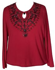 Victor Costa Occasion Faux Gemstone Encrusted Dressy Sweater Red Black Plus 2X