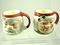 VTG Papel Santa & Mrs Claus Mugs 1990s Christmas Holiday Freelance Face Set of 2