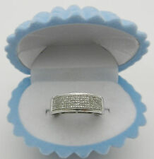 Micro pave diamonds 10k White Gold Anniversary Wedding Band Ring 4.0 grams
