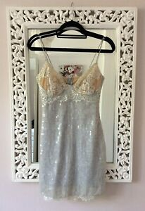 Y2K Style Grey Sequin & Nude Lace Mini Underwired Bust Dress, UK Size 8 New