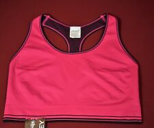 Jockey Modern Fit Bralette Sports Bra Size Large Seamfree Pink/Black Sporties