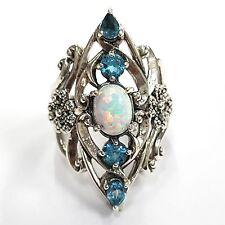 Art Nouveau Style Gilson Opal & Blue Topaz  Ring Sterling silver 925 8