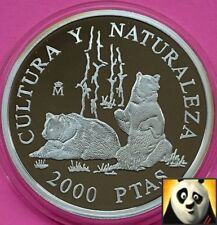 1996 SPAIN 2000 Pesetas Bears Wildlife Conservation WWF Silver Proof Coin
