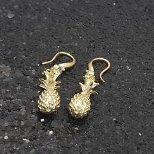 18K Gold Filled Stylish Italian Diamond Pineapple 18ct GF Drop Earrings  40mm
