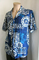 KIMO'S POLYNESIAN SHOP Men's Vintage Blue White Aloha Hawaiian Shirt M Medium