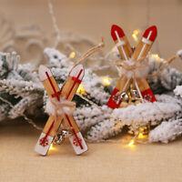 Wooden Christmas Sleigh Hanging Pendants DIY Xmas Tree Ornaments Xmas Gifts EF