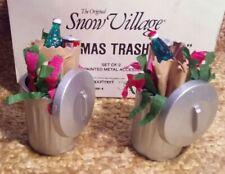 "Dept. 56 The Original Snow Village ""Christmas Trash Cans"" #5209-4 Set of 2"