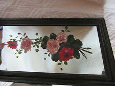VICTORIAN vintage antique original oil PAINTING pink roses flower floral mirror