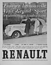 PUBLICITÉ DE PRESSE 1937 VOITURE RENAULT VIVA GRAND SPORT 6 CYLINDRES 4 LITRES