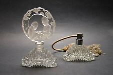 Vtg Czech Art Deco perfume bottle and atomizer Clear Crystal Glass