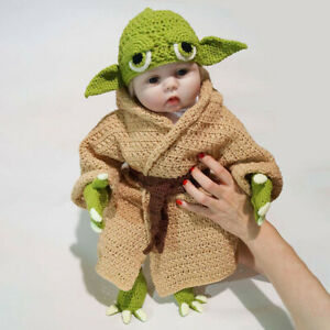 lovely baby girls yoda suit Newborn knit Crochet Photo Prop outfit