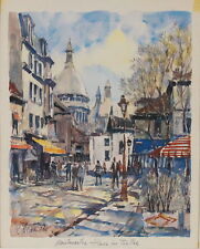 Pierre Cambier (French 1914-2000) Original Watercolor Painting Parisienne Scene