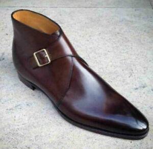 Handmade Men's Genuine Burgundy Leather Chukka Single Monk Strap Formal Boots