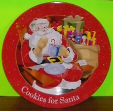 "Cookies 4 Santa-Christmas Red~""Plate for Santa Cookies""~Tin~10 1/4"" Dia. x 5/8"""