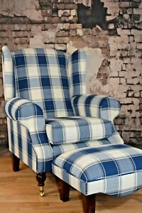 Wing Back Fireside Queen Anne Armchair Blue Denim Tartan + Footstool + Cushion